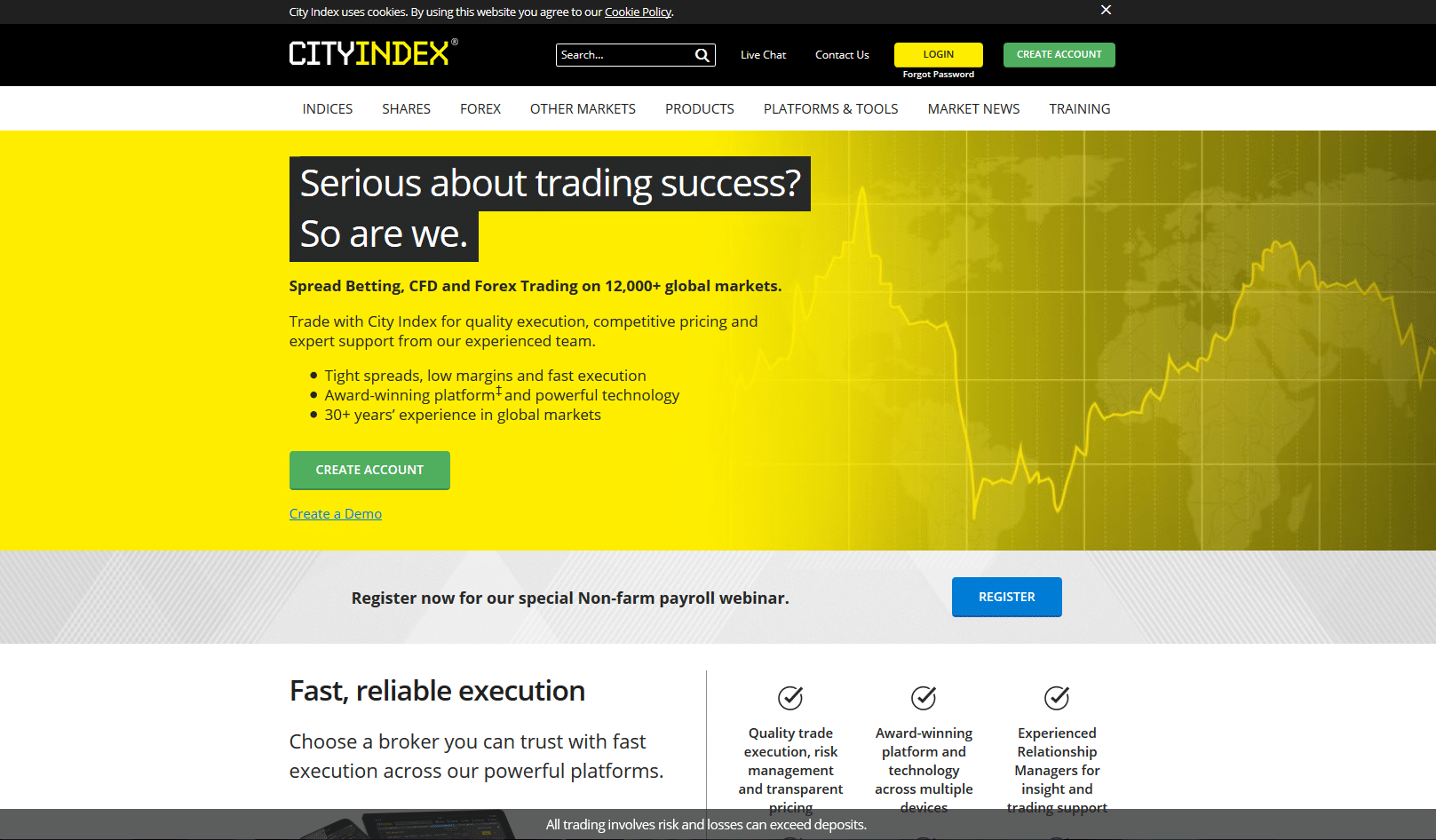 City Index Home Page Screenshot