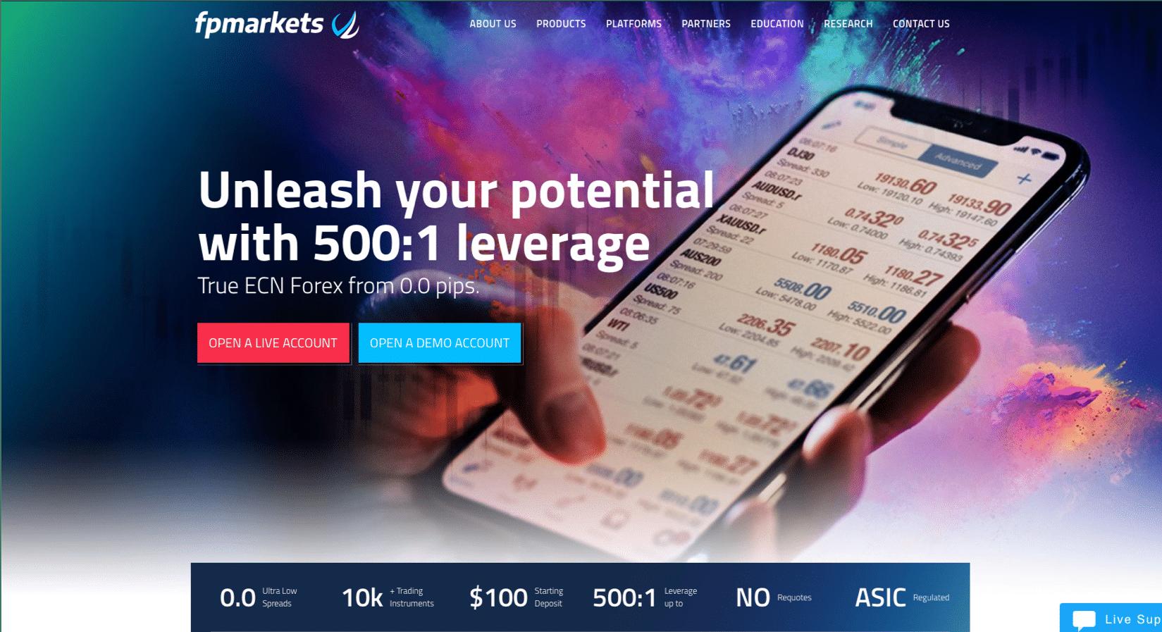 FP Markets Website Screenshot